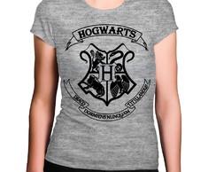 93988d45d Camiseta Feminina Cinza Mescla Hogwarts Brasão Harry Potter no Elo7 ...