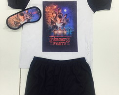 kit festa do pijama stranger things pijama e tapa olhos