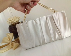 Clutch cetim off white