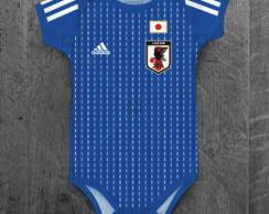 ... Body Japão Seleção Japonesa Personalizado c  Nome do Bebê 3eb01929cef95