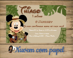 Convite Digital tema Mickey Safari