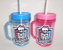 Caneca Mason Jar de 400ml Monster High