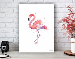 Placa Decorativa Flamingo Watercolor Tamanho M