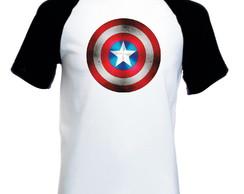 ... Camiseta Raglan Manga Curta Capitão América Marvel Escudo P 0b453f77293a3