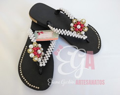 Chinelo Havaianas Customizado Flor Grande Lateral e Strass