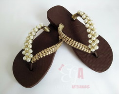 Chinelo Havaianas Top Customizado Trançado Pérolas e Strass