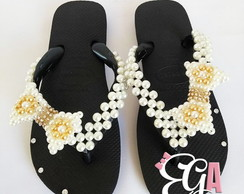 Havaianas Top Inf. Customizado Manta/Laço Pérolas e Strass
