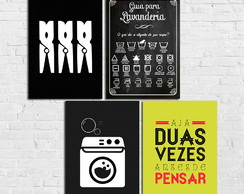 Lavanderia kit 4 placas decorativas