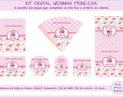 Kit Digital Ursinha Princesa Rosa