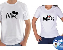 Kit camiseta personalizadas namorados casal c/2 MR & MRS