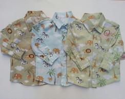 Camisa safari manga longa infantil d9676cd549fcb