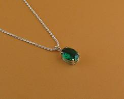 37e4e565d9c03 ... Gargantilha de prata, nano cristal esmeralda