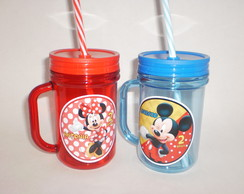 Caneca Mason Jar de 400ml Mickey e Minnie Vermelha