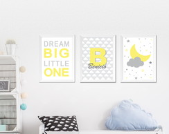 Poster infantil dream big little one, com nome personalizado
