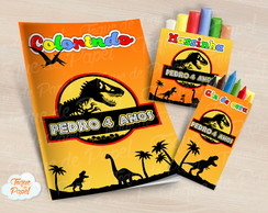 Kit colorir giz massinha jurassic park