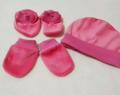 ... Kit Sapatinho Luva Touca Plush Rosa Pink 2e1a0644147