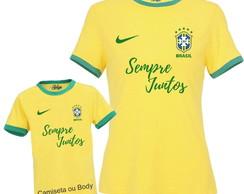 ... 2 Camisetas Brasil Copa do Mundo personalizadas com seu nome 851affc868136