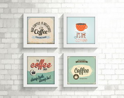 Kit 4 Quadros Decorativos Café Coffee Moldura Branca c Vidro