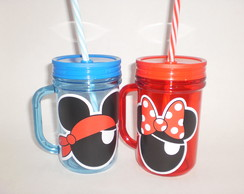 Caneca Mason Jar de 400ml - Mickey e Minnie Pirata