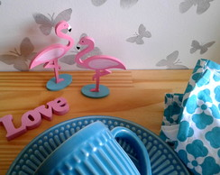 Conjunto Mini Flamingos + Mini Palavra Love