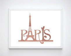 Quadro Decorativo Pôster Com Moldura Paris Rosé Gold Decor