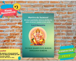 Placa Quadro Decorativa Esoté Mantra do Sucesso Lord Ganesha