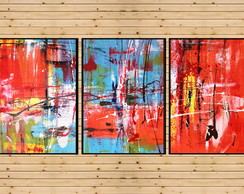 Quadro Decorativo Abstrato 90x42 Cm Grande Sala Hall Quarto