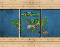 Conjunto 3 Quadros Mapa Super Mario World Super Nintendo Nes