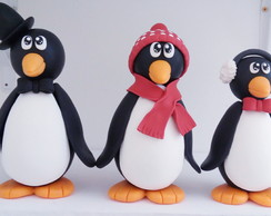 Trio de Pinguins de biscuit
