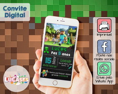 Convite Digital Minecraft para WhatsApp ou Facebook