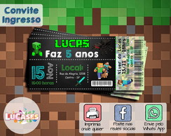 Convite Digital Ingresso Minecraft