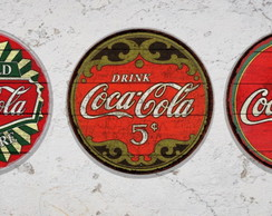 3 Placas Redondas Decorativas Coca Cola
