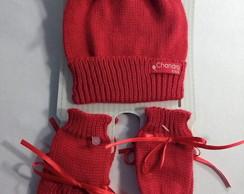 ... sem juros  kit touca +luva + sapatinho bebê linha vermelho 91ac4408d56