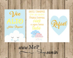 Placa Quadro Decorativa - Kit com 3 Voe Alto frase Nome