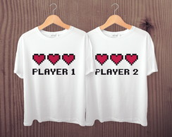 Kit de Camisetas Player 1 e Player 2