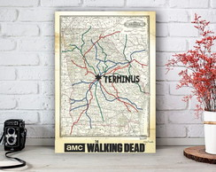 Placa Decorativa The Walking Dead Mapa Tamanho M