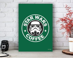 Placa Decorativa Star Wars Coffee Stormtrooper VerdTamanho M
