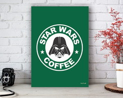 Placa Decorativa Star Wars Coffee Darth Vader VerdeTamanho M