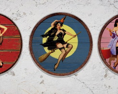 Kit 3 Placas Redondas Pin Ups 04
