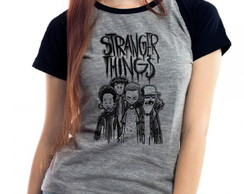 Camiseta Stranger Things Kids Raglan Mescla Babylook
