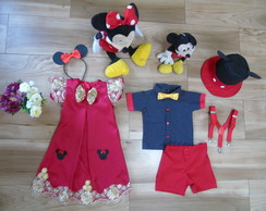 Fantasia Mickey Fantasia Minnie Moda irmãos Mickey e Minnie
