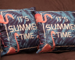 Capa de almofada Flamingos Its summer Times