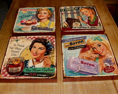 Kit 4 Quadros Tela MDF Housewives 03