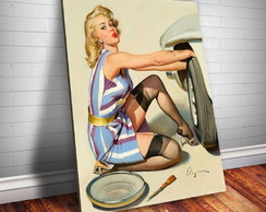 Placa Decorativa Pin-up Trocando Pneu- 30x20cm