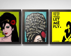 Kit 3 Quadros Poster C.moldura Vintage Amy Winehouse