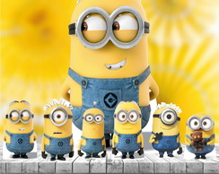 Kit 7 Totem Display Festa Minions 65cm