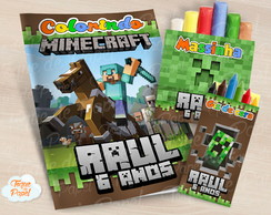 Kit colorir giz massinha Minecraft