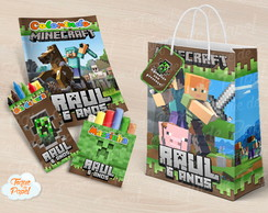 Kit colorir giz massinha e sacola Minecraft