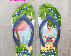 Chinelo Infantil Pool Party Flamingo na Praia