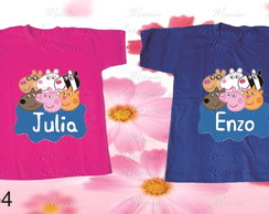kit 2 Camisetas divertidas peppa